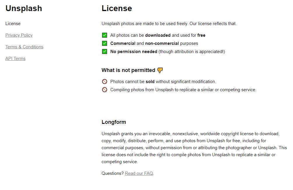Kuvankaappaus Unsplash palvelun kuvien lisenssistä. Tässä kerrotaan kuinka kuvia saa käyttää