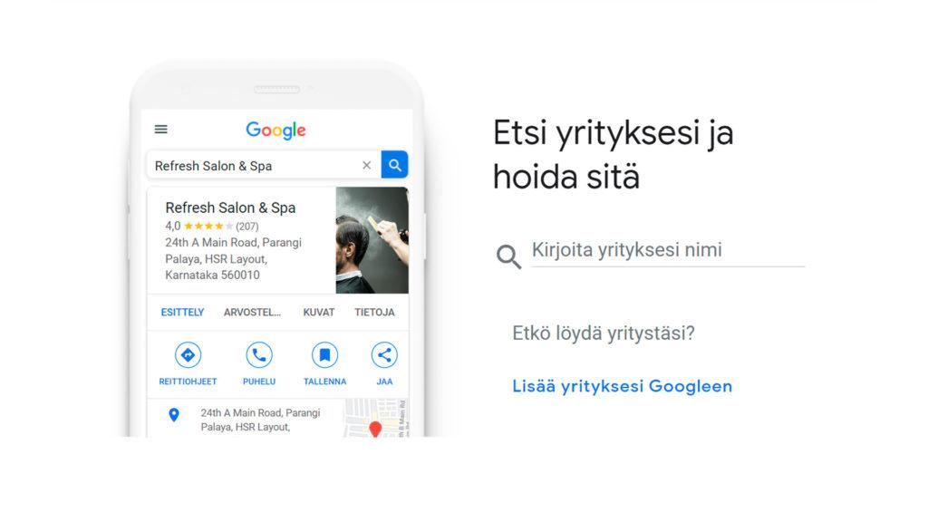 Kuvankaappaus yrityksen hakemisesta Google My Business palvelusta.