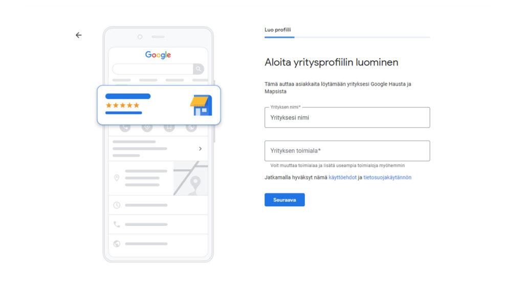 Kuvankaappaus uuden yritysprofiilin luomisesta Google My Business palvelussa.